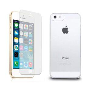 Blueway Apple İphone 5 - 5S Ekran Koruyucu + Şeffaf Silikon Kılıf