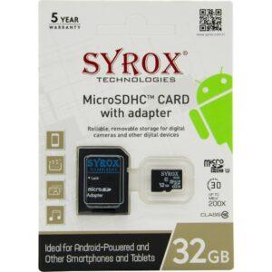 Syrox 32 Gb Micro Sd Card Hafıza Kartı Adaptörlü