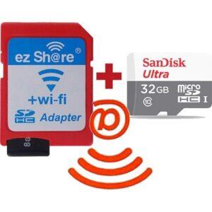 Ezshare Kablosuz Wi-Fi Adaptörü + Sandisk Ultra 32 Gb Wi-Fi Micro Sd Hafıza Kartı