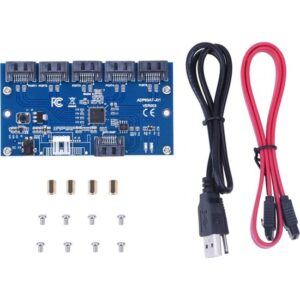 Alfais 5136 1 To 5 Sata Port Hub Çoklayıcı Swıtch Adaptör Splitter Kart Çevirici 4 Çoklu
