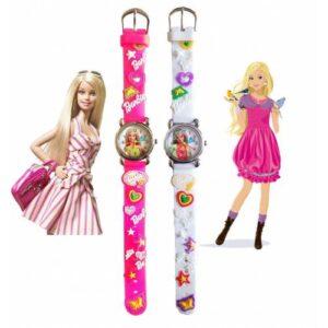 Disney Barbie Figürlü, 3D Kabartmalı, Silikon Kayışlı Çocuk Kol Saati