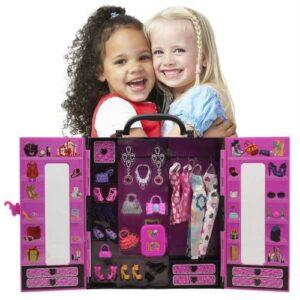 Barbie Saat HEDİYE - Barbie Bebek Gardrobu - Giysi Dolabı 30+Parça