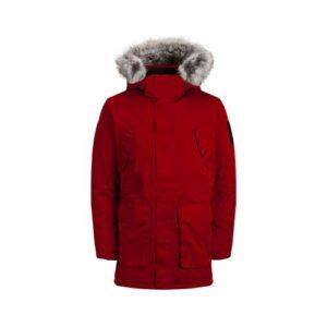 Jack Jones Erkek Günlük Mont 12157936-Tango-Red Kırmızı Jcomeyland Parka