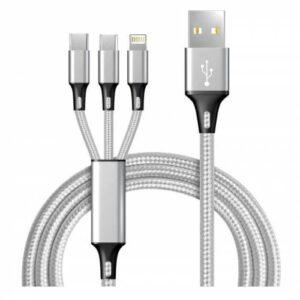 Hızlı Şarj Kablosu 3 IN 1 3 lü Başlık Type C - Micro Usb - Lightning iOS Kapalı Kutu İthal Ürün