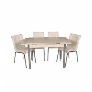 Açılabilir Mutfak Masa Sandalye Takımı Masa + 4 Petli Sandalye