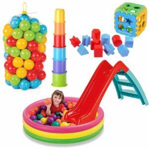 Kaydıraklı Oyun Seti 114 Cm Havuz Kaydırak Bultak Mini Kule 100 Adet Top