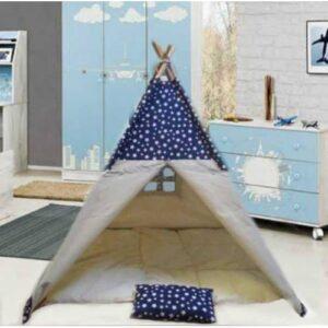 lacivert yıldız desenli çadır kızılderili çocuk oyun çadırı