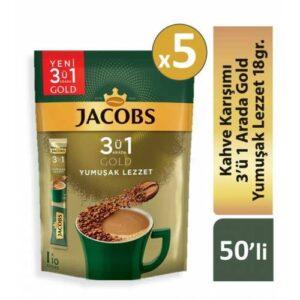Jacobs 3ü1 Arada Gold Kahve Karışımı Yumuşak Lezzet 50 Adet