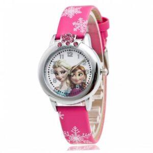 Elsa Anna Kız Çocuk Saati karlar Ülkesi Pembe Saat Frozen Frosen Saat Stoktan Aynı Gün Kargoda
