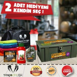 Grenade 50 Calibre Pre-Workout 50 Servis Aroma Seçenekli + 2 HEDİYE (SPOR ÇANTA HEDİYELİ)