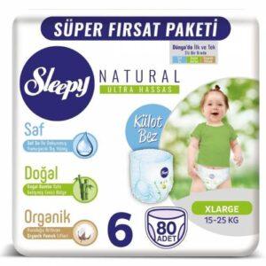 Sleepy Natural Külot Bez 6 Beden 80 Adet
