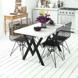 Evdemo Parla 4 Kişilik Mutfak Masası Takımı Beyaz