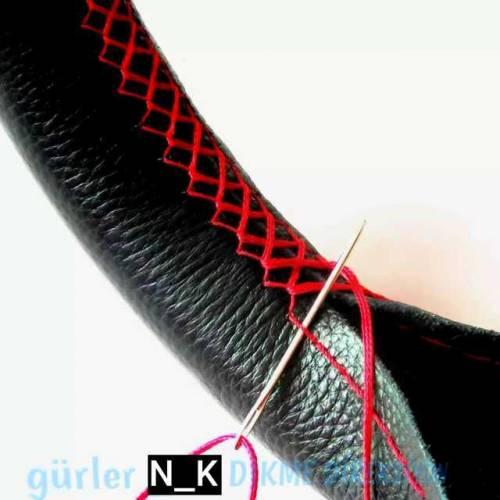 dikme direksiyon kılıfı kokusuz dikmeli esnek terletmez kırmızı ipli ve iğnesi