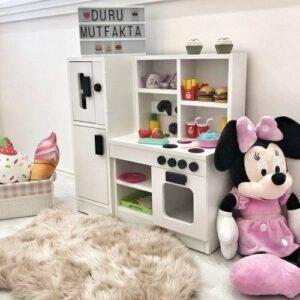 Montessori Ahşap Beyaz Çocuk Oyun Mutfağı 75x75x30 cm