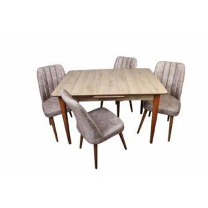 Mdf Çam Otomatik Raylı Açılabilir Salon Mutfak Masa Takımı Masa + 4 Sandalye