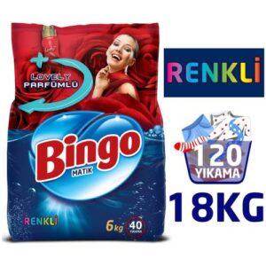 Bingo Renkli Lovely Parfümlü Toz Çamaşır Deterjanı 120 Yıkama 3 x 6 KG
