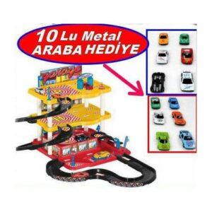 Üç Katlı Otopark 3 Kat Garaj Oyun Seti + 10 Adet Araba İle Dev Set Otopark Oyunuu