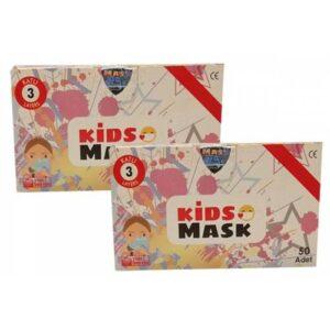 Kgt Kids Mask 3 Katlı Cerrahi Kız Çocuk Maskesi 50 Adet x 2 Adet