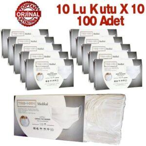 Taş-Han Cerrahi Maske 3 Katlı Burun Telli Yumuşak Lastikli 10 lu Kutu X 10 = 100 Adet
