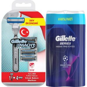 Gillette Mach 3 Turbo Tıraş Makinesi + 4 Yedek Bıçak + 2'li Tıraş Köpüğü