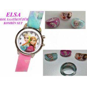 Prenses Anna Ve Elsa Pembe Renk Işıklı Kız Çocuk Kol Saati + Elsa Yüzük (Yedek Pil+Hediye Paketi)