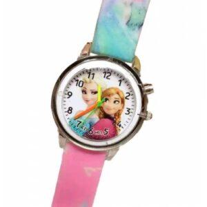 Prenses Anna Ve Elsa Yanıp Sönen Işıklı Kız Çocuk Kol Saati Pembe Renk (Yedek Pil+Hediye Paketi)