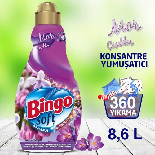 Bingo Soft Konsantre Çamaşır Yumuşatıcısı Mor Çiçekler 1440 ml Ekonomi Paketi 6'lı