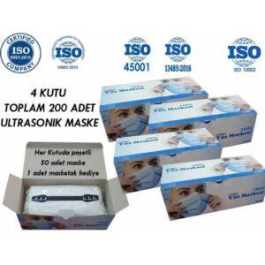 BBB 4 Kutu Cerrahi Maske 3 Katlı Kalın Kumaşlı Telli Ultrasonik Cerrahi Koruyucu Maske 200 adet