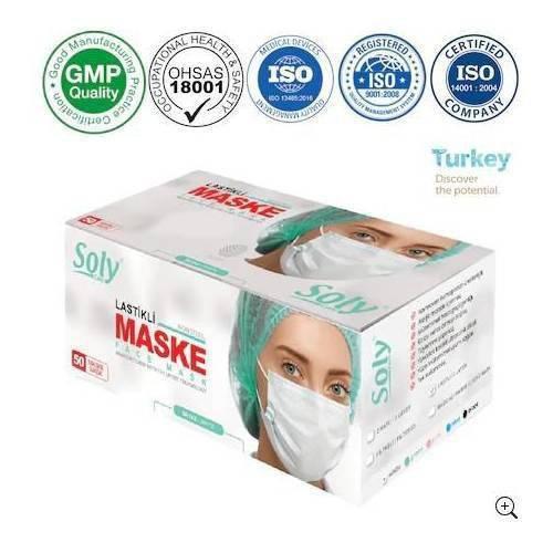Soly Care Tek Kullanımlık Üç Katlı Telli Cerrahi Maske 50'li Kutu 3 Adet Beyaz 150 Adet