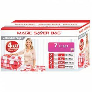 Magic Saver Bag 7'li Vakumlu Poşet Seti (2 L + 2 XL + 2 XXL + 1 JUMBO) Vakumlu Torba,Vakumlu Hurç!!!