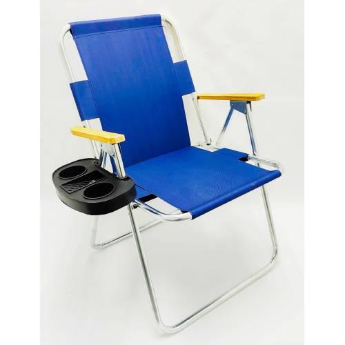 Katlanır Ahşap Kolçaklı Bahçe Kamp Plaj Sandalyesi+Bardaklık