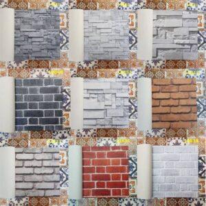 3 Boyutlu Taş Tuğla Desenli Duvar Kağıdı (5m²) - Tutkal Hediyeli