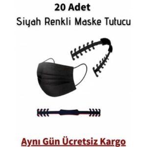 20 Adet Siyah Renk Maske Tutucu Aparat Kulak Koruyucu Maske Tutturma Aparatı Maske Tokası Klipsi