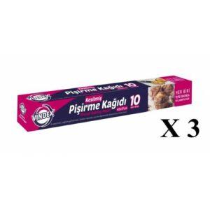 Vindex Kesilmiş Yağlı Pişirme Kağıdı 10 Lu 42 Cm x 37 Cm - 3 Paket