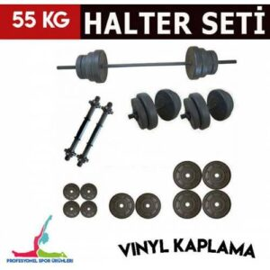 SerSpor 55 KG VINYL KAPLAMA VİDALI DAMBIL HALTER SETİ