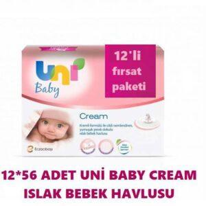 Uni Baby Cream Islak Havlu 56'lı