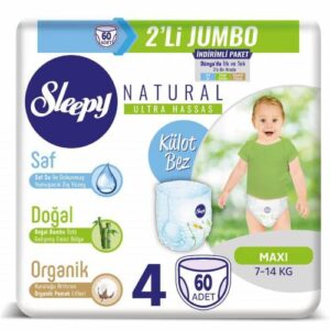 Sleepy Natural Külot Bez 4 Beden  60 Adet