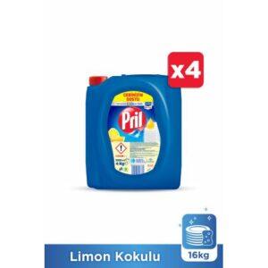 Pril Elde Yıkama Sıvı Bulaşık Deterjanı, Limon Kokulu 4Kg 4'lü Paket