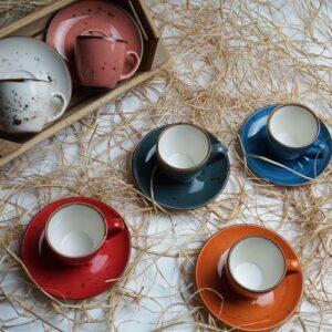 Tulu Porselen Luna Mix 6 Kişilik Kahve Fincan Takımı