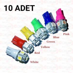 t10 led ampül park led plaka led tavan led dipsiz led ışık 10 adet YEŞİL renk 12V 5 SMD