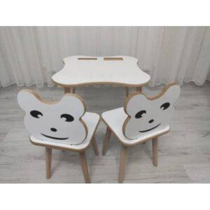 Labarna Ahşap Çocuk Masa Sandalye 2li Yaz-Sil Yüzey Montessori Model LBN-M002