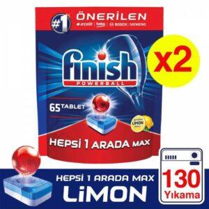 Finish Hepsi 1 Arada 130 Tablet Bulaşık Makinesi Deterjanı Limon (65x2)