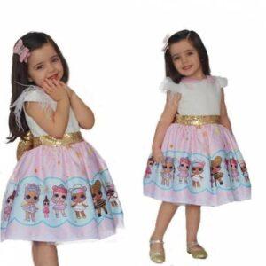 Lol Bebek Baskılı Tüllü Kız Çocuk Elbise -Lol Bebek Kostümü - Kız Çocuk Elbise-ÜCRETSİZ HIZLI KARGO