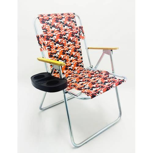 Katlanır Kamuflaj Desenli Kamp Bahçe Plaj Sandalyesi + Bardaklık