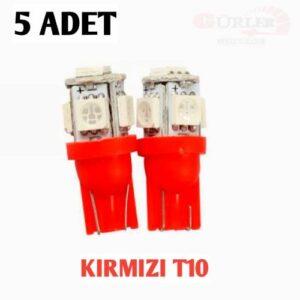 5 ADET T10 led ampül park led plaka led tavan led ışık 5 LEDLİ 12V KIRMIZI