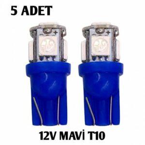 5 ADET T10 led ampül park led plaka led tavan led ışık 5 LEDLİ 12V MAVİ