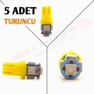 5 ADET T10 led ampül park led plaka led tavan led ışık 5 LEDLİ 12V TURUNCU/SARI