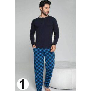 Uzun Kollu Pamuk Likralı Erkek Pijama Takımı Modal Kumaş Uyku Giyim Kışlık Erkek Pijama Takımı