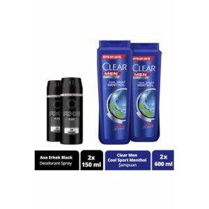 Axe Black Erkek Deodorant Sprey 150 ML x 2 adet + Clear Men Cool Sport Menthol Şampuan 600 ML x 2 ad