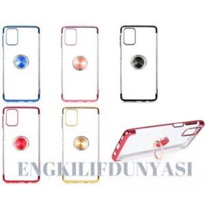 Samsung Galaxy M51 Kılıf Kamera Korumalı Yüzüklü Standlı Şeffaf Renkli Lazer Silikon Kapak